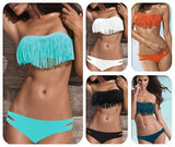 Blue Girly Fashion Solid Hollow Out Tassel Bikinis