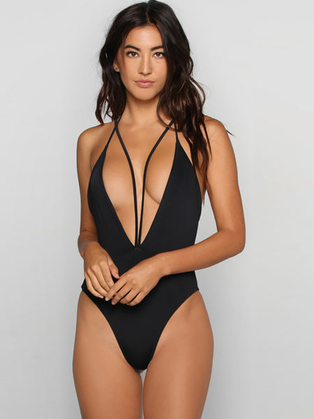 Black Sexy Solid Hollow Out One-Pieces