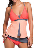 Orange Formal Patchwork Lace-Up Tankinis