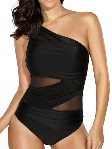 Black Simple Sexy Solid One-Pieces