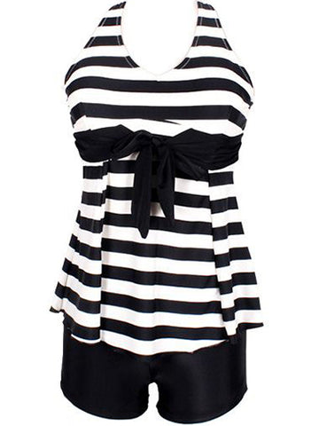 Black Formal Striped Lace-Up Plus Size Swimwear