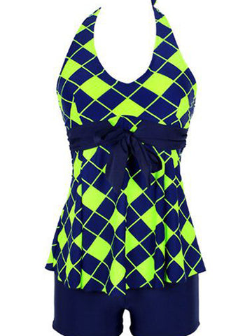 Green Fashion Formal Print Bow Plus Size Swimwear