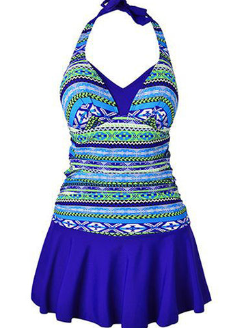 Royal Blue Fashion Formal Print Lace-Up Plus Size Swimwear
