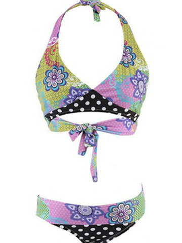 Multicolor Fashion Sexy Formal Print Bow Bikinis