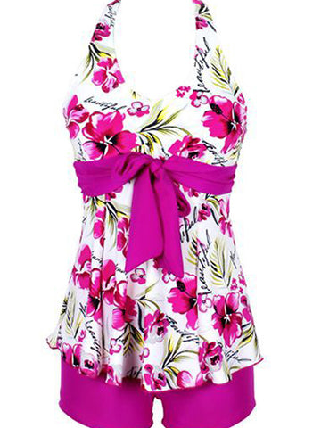 Multicolor Fashion Formal Print Bow Plus Size Swimwear