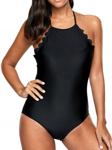Black Simple Solid One-Pieces
