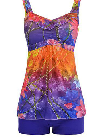 Multicolor Formal Print Plus Size Swimwear