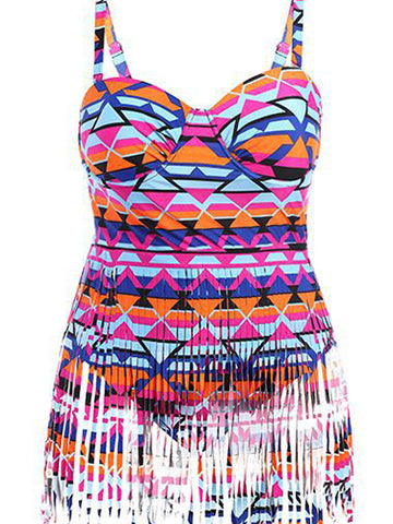 Multicolor Fashion Print Tassel Plus Size Swimwear