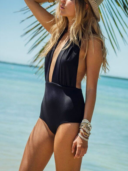 Black Fashion Sexy Solid Lace-Up One-Pieces