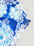 Multicolor Blue Girly Fashion Print Ruffles One-Pieces