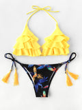 Multicolor Yellow Girly Fashion Sexy Print Ruffles Bikinis