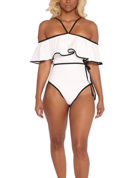 White Fashion Sexy Solid Sashes One-Pieces