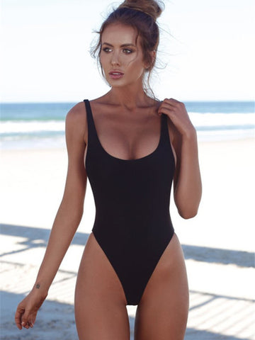 Black Sexy Solid One-Pieces