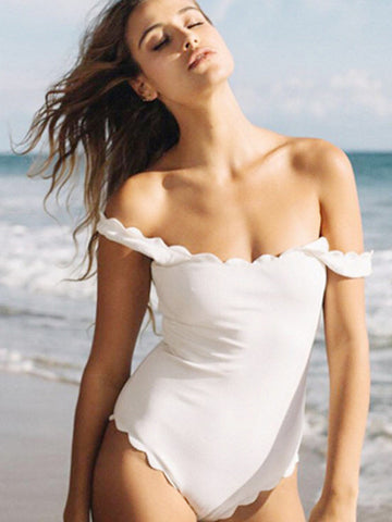 White Simple Girly Fashion Solid One-Pieces