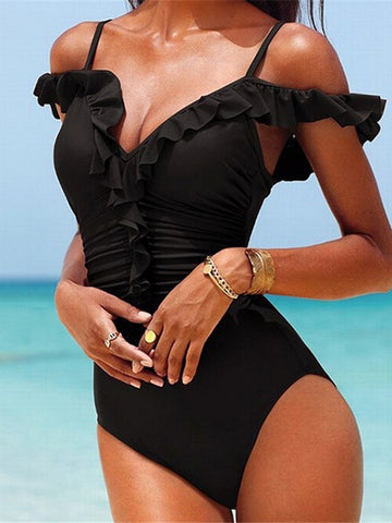 Black Fashion Solid Ruffles One-Pieces