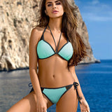 Dark Blue Formal Solid Lace-Up Bikinis