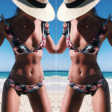 Multicolor Girly Fashion Print Bikinis
