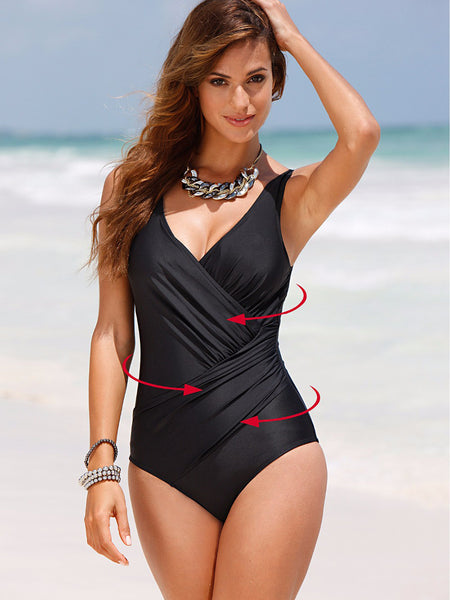 Black Simple Formal Solid Plus Size Swimwear