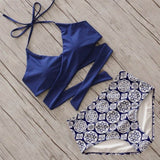 Dark Blue Green Fashion Print Lace-Up Bikinis