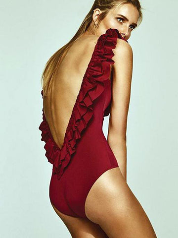 Wine Red Girly Sexy Solid Ruffles One-Pieces