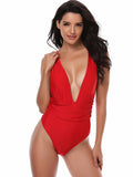 Red Sexy Solid One-Pieces
