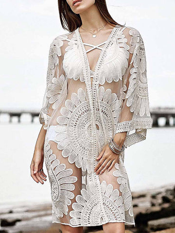 White Fashion Solid Appliques Cover-Ups