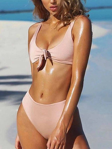Pink Girly Fashion Sexy Solid Bow Bikinis