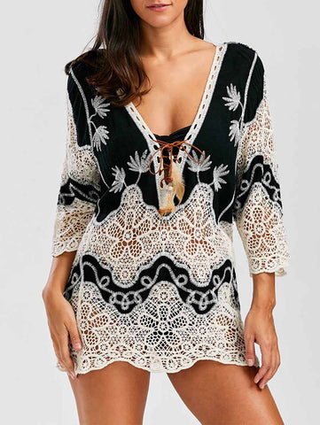 Black Fashion Patchwork Lace-Up Cover-Ups