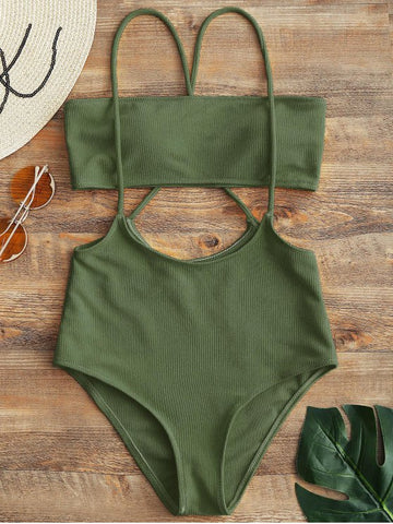 Army Green Fashion Solid One-Pieces