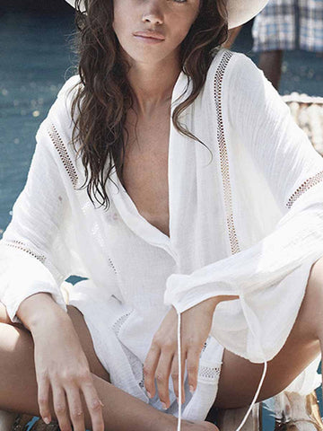 White Fashion Casual Solid Cover-Ups
