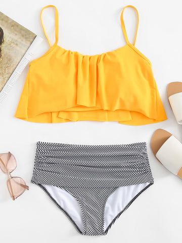 Yellow Girly Striped Ruffles Bikinis