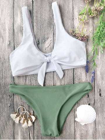White Green Girly Fashion Bow Bikinis
