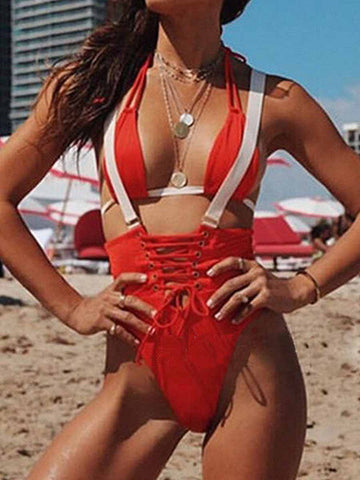 Red Fashion Sexy Lace-Up One-Pieces