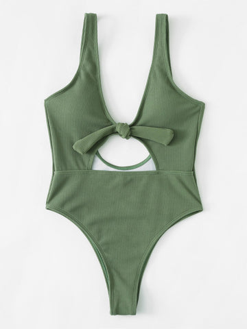 Green Fashion Solid Hollow Out Bow One-Pieces