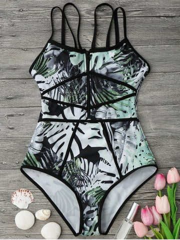 Green Formal Print One-Pieces