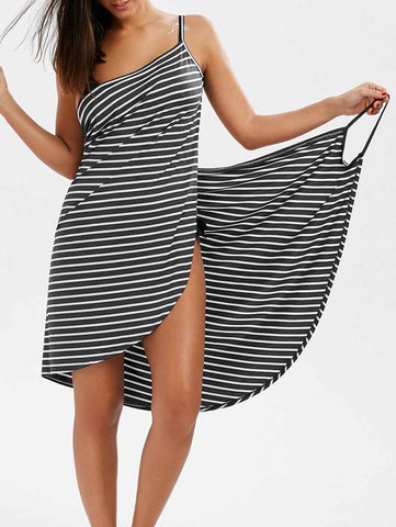 Black Simple Fashion Striped Lace-Up Cover-Ups