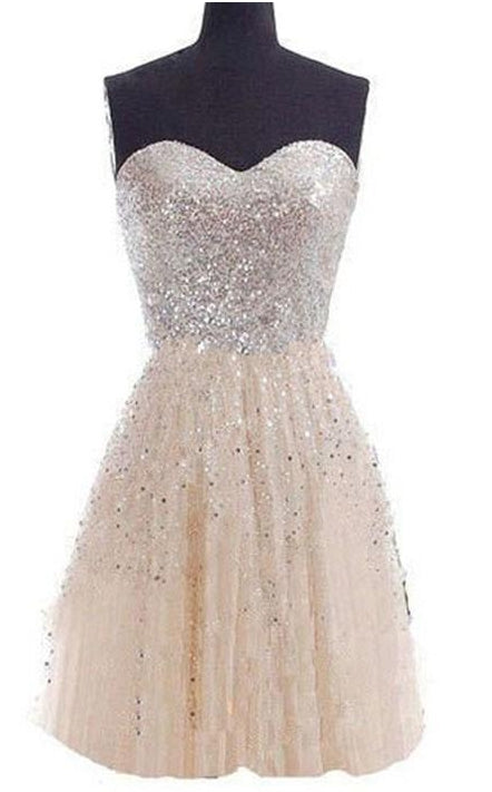 Champagne Sleeveless Chiffon Short Bridesmaid Gown Sequins Tube Dress