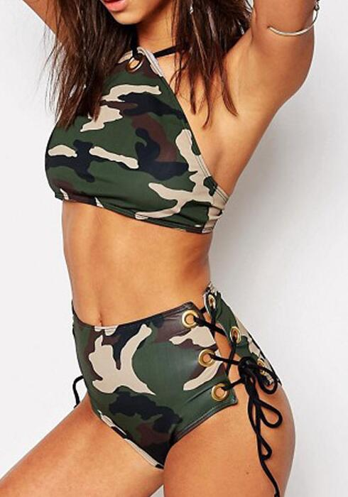 Amy Green Bathing Wear Plavky Women Camo Bandage Cross Bathing Suit