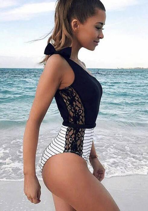 2018 Lace Striped One Piece One Shoulder Beach Wear