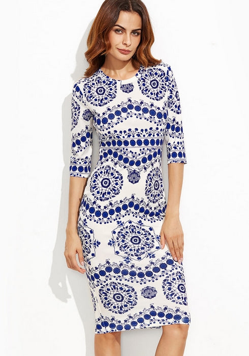 Blue And White Porcelain Print Slim Pencil Dress Office Ladies Work Wear