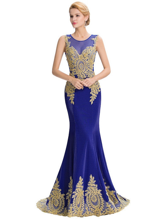 Mermaid Evening Lace Appliques Long Prom Dress See Through Formal ...