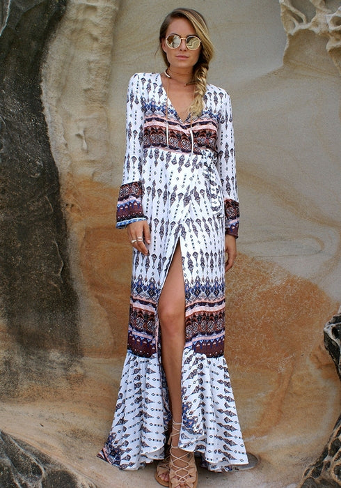 Thai Style Bohemia Cover Ups Beach Long Sleeve Dress