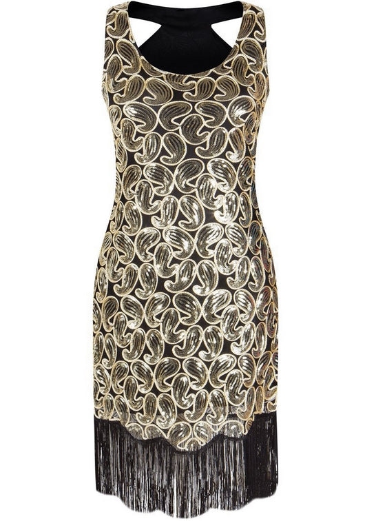 1920s Sequin Paisley Pattern Racer Back Flapper Fringe Great Gatsby Women's Party Dress