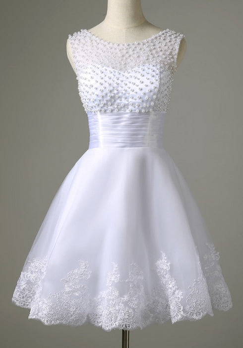 2018 White Sexy Sleeveless Lace Bridal Gown Short Wedding Dress