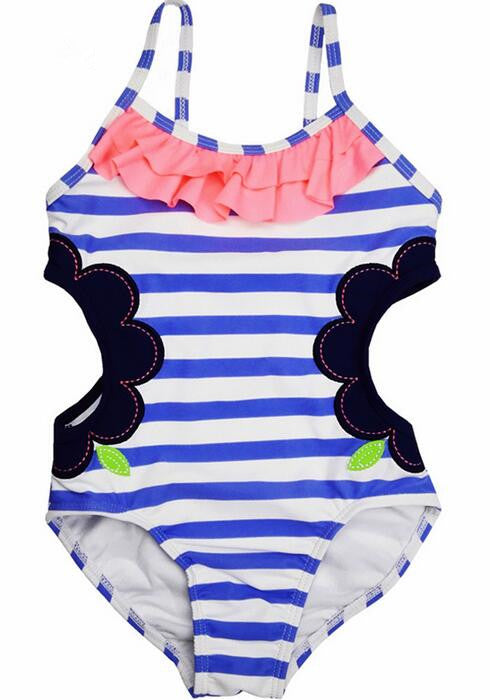 Baby One Piece Girls Swimwear Light Blue Striped Hollowing Swimsuit