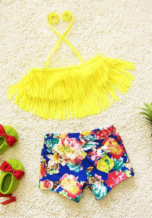 Children Swimwear Two Pieces Girls Swimsuit Floral Kids Girls Beachwear