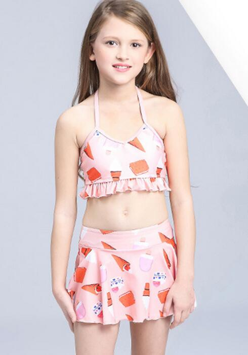 Two Pieces Children Swimwear Kids Infantil Cute Beach Dress Swimsuit