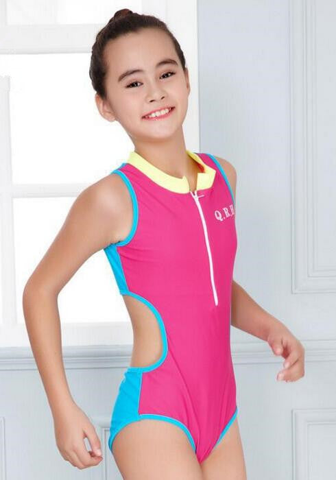 Large Size Girls Sporting Bathing Suits Kids One Piece Swimsuit