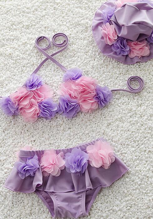 Hot Baby Girls Cute Flower Bikini Kids Three Pieces Swimwear