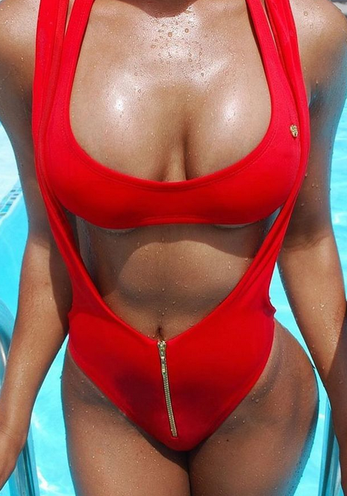 Red Two Piece Swimwear High Cut Bodysuit Brazilian Monokini Bathing Suit